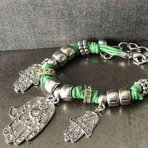 Jewelry - Green Hamsa Charm Bracelet, Crystal Hands